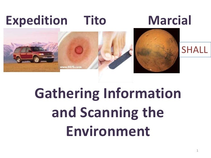 Expedition     Tito             Marcial<br />Gathering Information <br />and Scanning the Environment<br />1<br />SHALL<br />