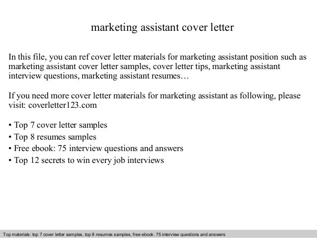 Marketing assistant cover letter – Marketing Assistant Cover Letter