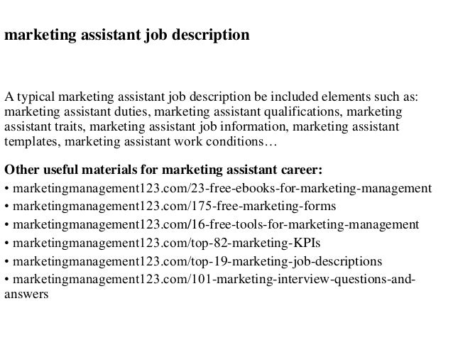 Elegant Marketing Assistant Job Description A Typical Marketing Assistant Job  Description Be Included Elements Such As: ...
