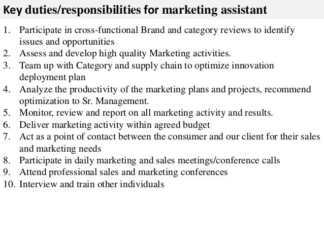 Job Description Marketing Assistant | Resume Cv Cover Letter
