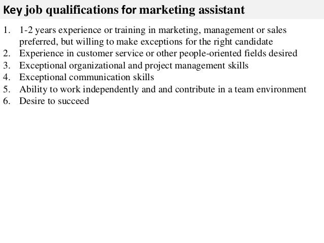 marketing assistant description