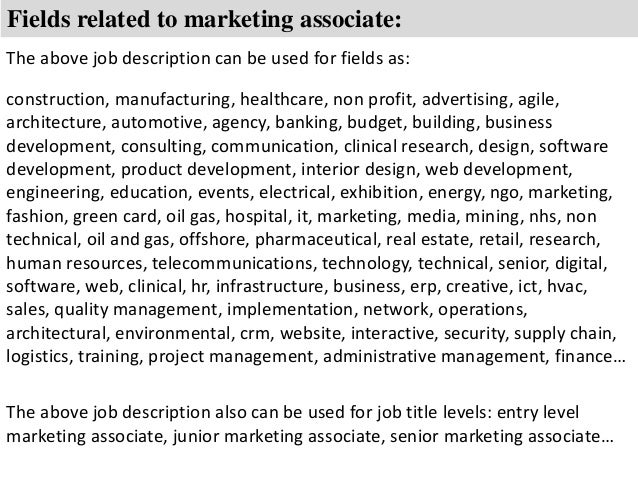 Marketing associate job description – Sales Associate Job Description
