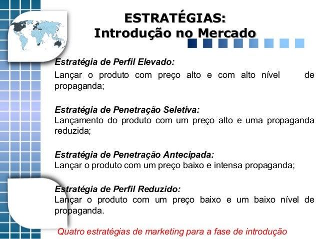 Estratégia de Perfil Elevado: Lançar o produto com preço alto e com alto nível de propaganda; Estratégia de Penetração Sel...