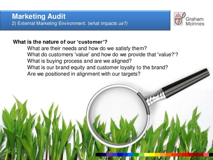 market environment audit Read this essay on components of a marketing audit come browse our large digital warehouse of free sample essays get the knowledge you need in order to pass your.