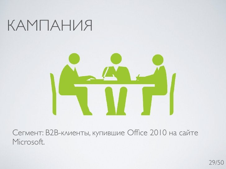 КАМПАНИЯСегмент: B2B-клиенты, купившие Office 2010 на сайтеMicrosoft.                                                     2...