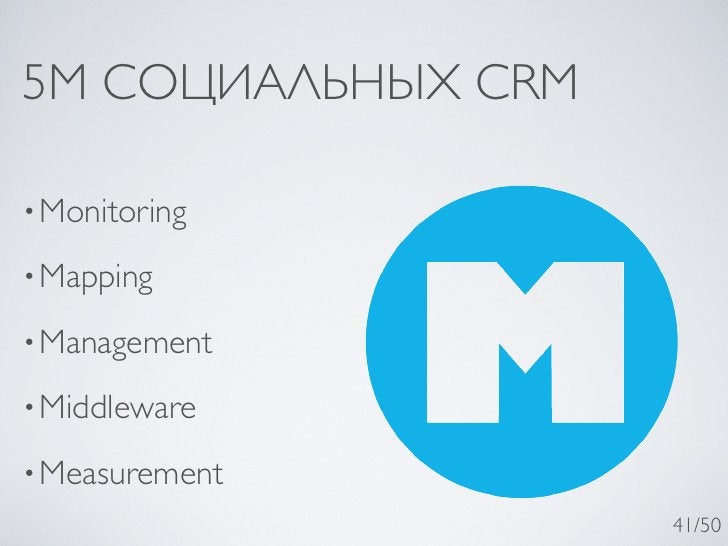 5M СОЦИАЛЬНЫХ CRM• Monitoring• Mapping• Management• Middleware• Measurement                    41/50