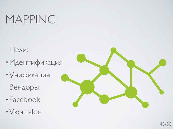 MAPPING Цели:• Идентификация• Унификация Вендоры• Facebook• Vkontakte                  43/50
