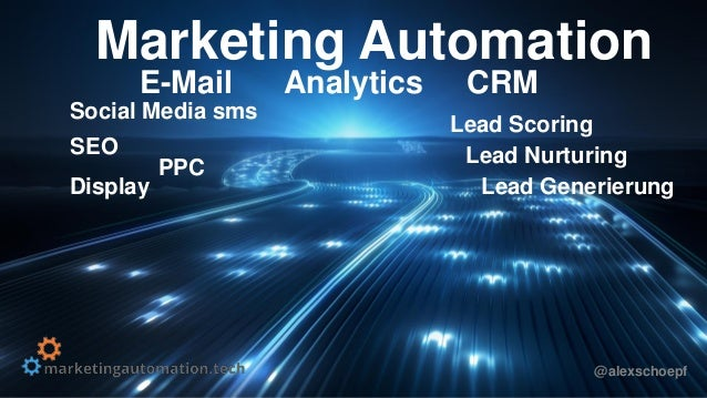 Marketing Automation E-Mail Analytics CRM Lead Nurturing PPC Display SEO Lead Scoring Social Media sms @alexschoepf Lead G...