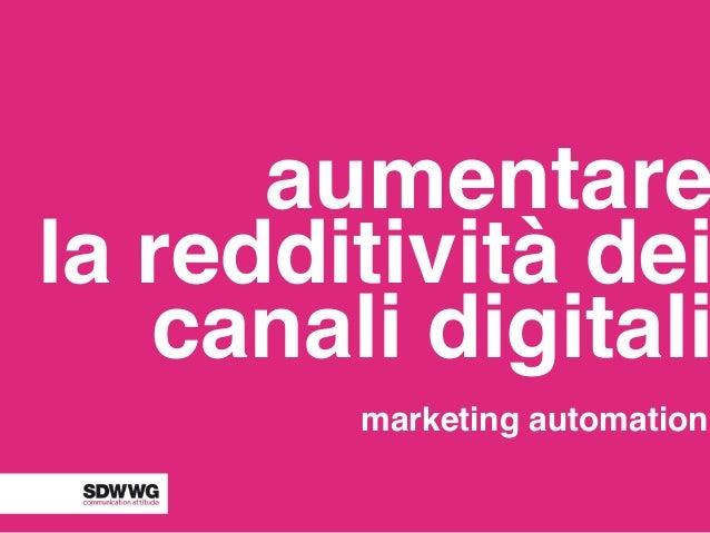 aumentare la redditività dei canali digitali marketing automation