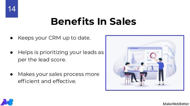 Benefits In Sales ● Keeps your CRM up to date. ● Helps is prioritizing your leads as per the lead score. ● Makes your sales...