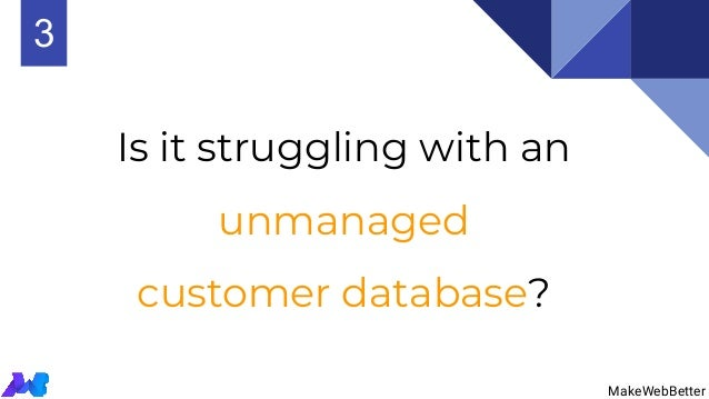 Is it struggling with an unmanaged customer database? MakeWebBetter 3 MakeWebBetter