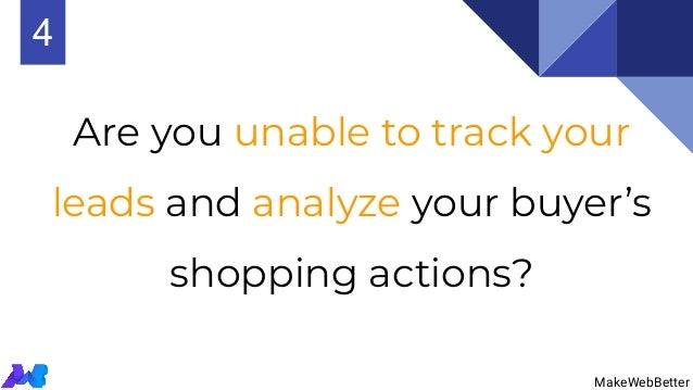 Are you unable to track your leads and analyze your buyer's shopping actions? MakeWebBetter 4 MakeWebBetter