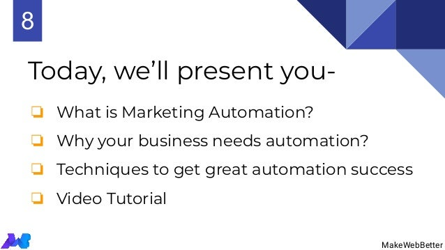 Today, we'll present you- MakeWebBetter ❏ What is Marketing Automation? ❏ Why your business needs automation? ❏ Techniques...