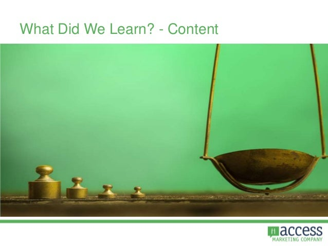 What Did We Learn? - Content