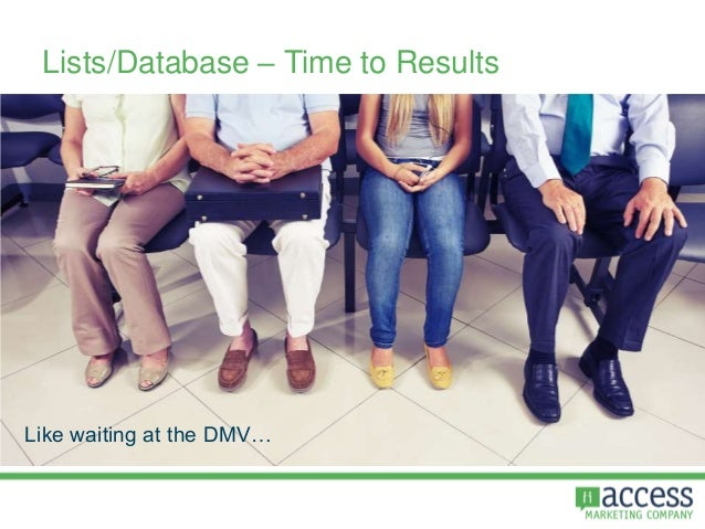 Lists/Database – Time to Results Like waiting at the DMV…