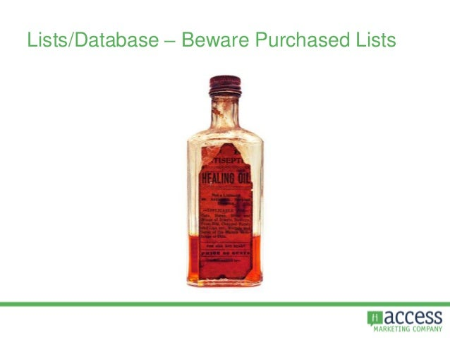 Lists/Database – Beware Purchased Lists