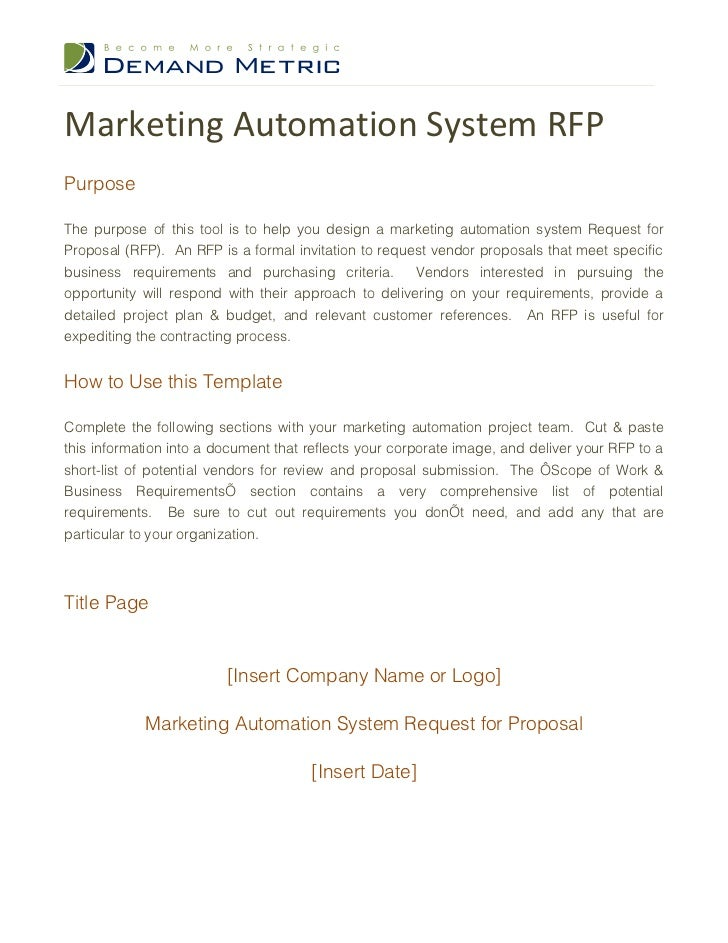 Marketing Automation System RFPPurposeThe purpose of this tool is to help you design a marketing automation system Request...