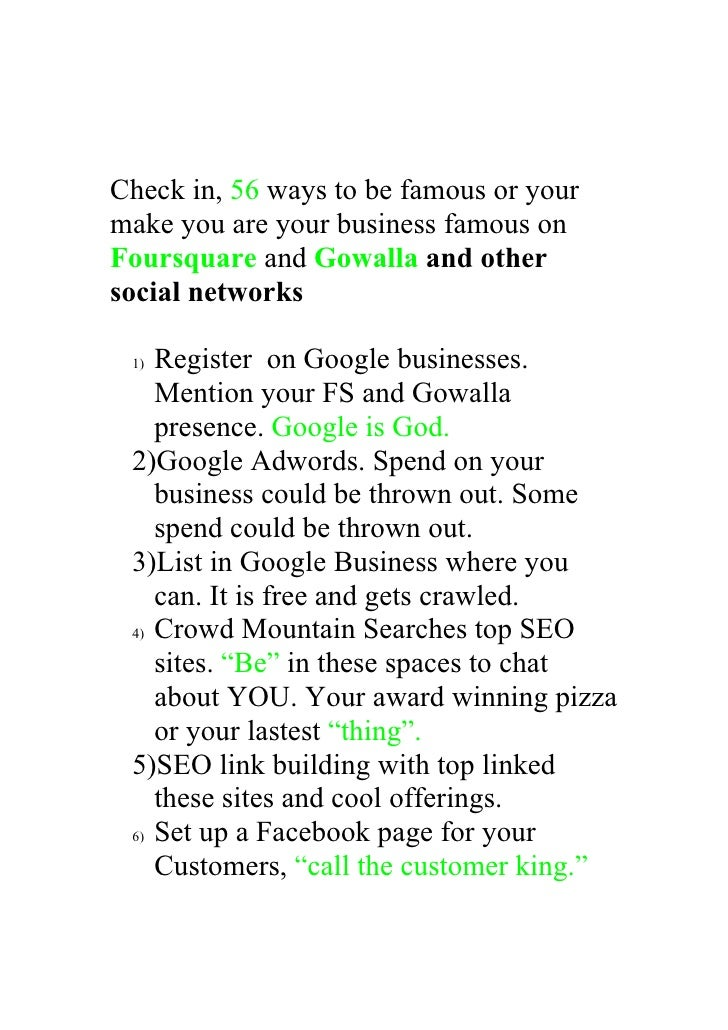 Check in, 56 ways to be famous or your make you are your business famous on Foursquare and Gowalla and other social networ...