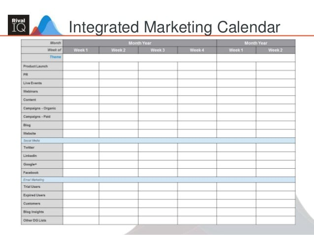 Building an Integrated Marketing Plan – Sample Marketing Schedule
