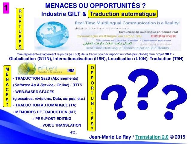 MENACES OU OPPORTUNITÉS ? Globalisation (G11N), Internationalisation (I18N), Localisation (L10N), Traduction (T9N) Industr...