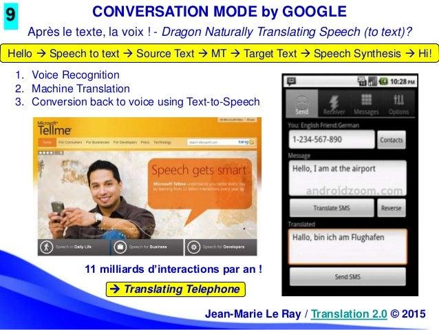 CONVERSATION MODE by GOOGLE 11 milliards d'interactions par an !  Translating Telephone 1. Voice Recognition 2. Machine T...