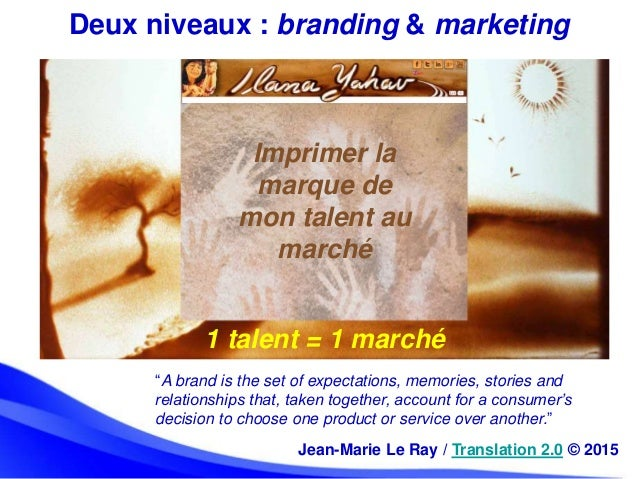 """1 talent = 1 marché Deux niveaux : branding & marketing """"A brand is the set of expectations, memories, stories and relatio..."""