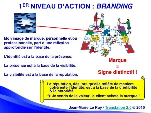 1ER NIVEAU D'ACTION : BRANDING Marque = Signe distinctif ! Jean-Marie Le Ray / Translation 2.0 © 2015 Mon image de marque,...