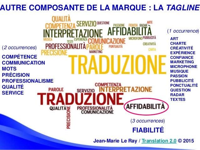 AUTRE COMPOSANTE DE LA MARQUE : LA TAGLINE COMPÉTENCE COMMUNICATION MOTS PRÉCISION PROFESSIONALISME QUALITÉ SERVICE ART CH...