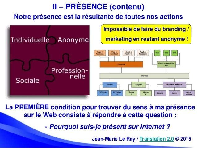 II – PRÉSENCE (contenu) La PREMIÈRE condition pour trouver du sens à ma présence sur le Web consiste à répondre à cette qu...