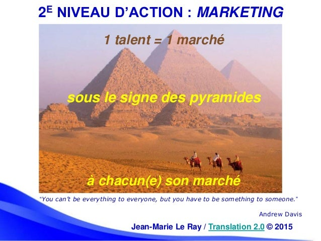 """2E NIVEAU D'ACTION : MARKETING """"You can't be everything to everyone, but you have to be something to someone."""" Andrew Davi..."""