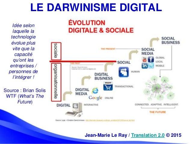 LE DARWINISME DIGITAL Idée selon laquelle la technologie évolue plus vite que la capacité qu'ont les entreprises / personn...