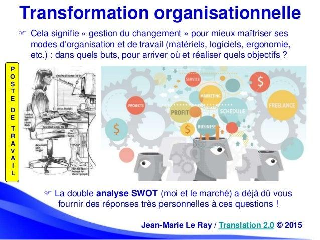 Transformation organisationnelle  Cela signifie « gestion du changement » pour mieux maîtriser ses modes d'organisation e...