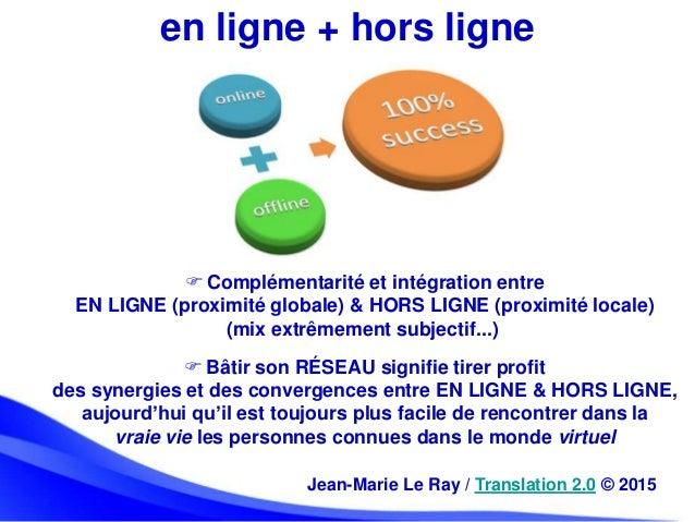 en ligne + hors ligne  Complémentarité et intégration entre EN LIGNE (proximité globale) & HORS LIGNE (proximité locale) ...