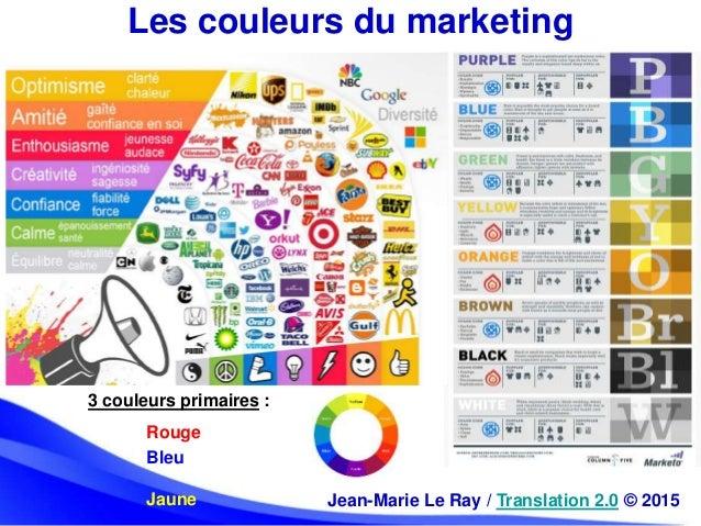 Les couleurs du marketing Jean-Marie Le Ray / Translation 2.0 © 2015 3 couleurs primaires : Rouge Bleu Jaune