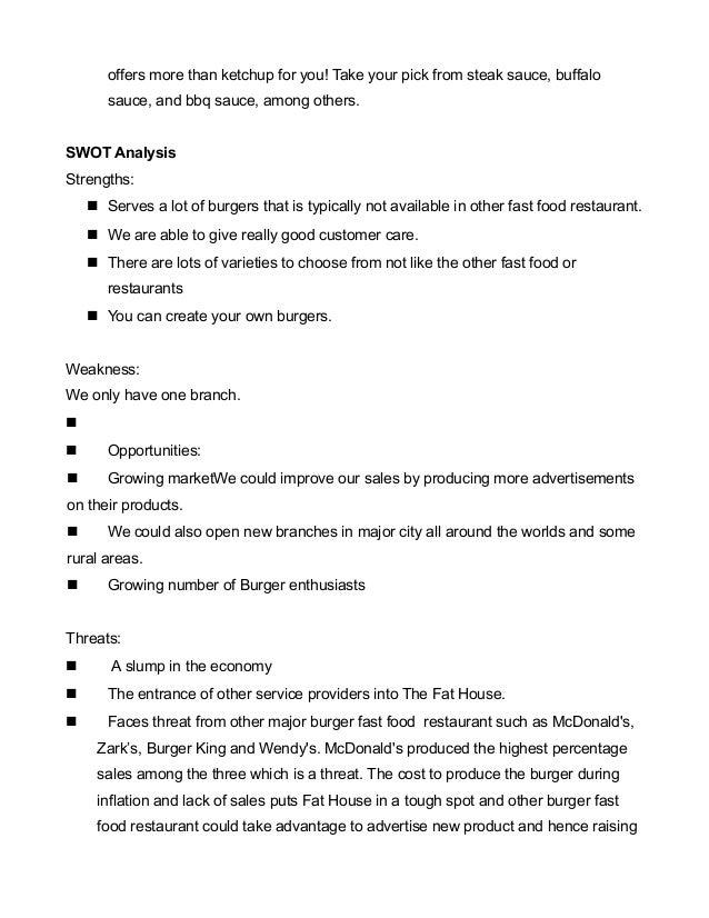 Burger fast food business plan