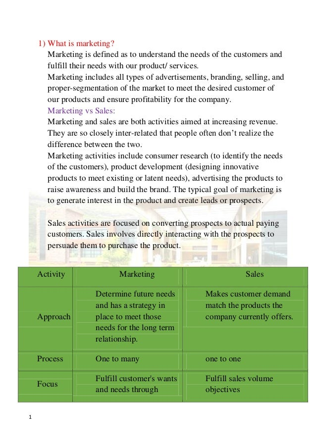 1 1) What is marketing? Marketing is defined as to understand the needs of the customers and fulfill their needs with our ...