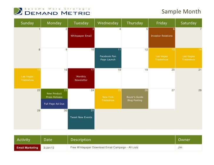 Marketing Calendar Template - Sample marketing calendar