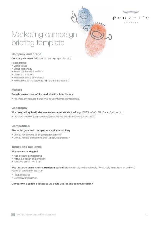 Marketing campaign briefing template1
