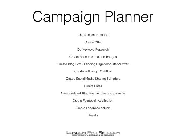 Marketing campaign planner for photographers Slide 2