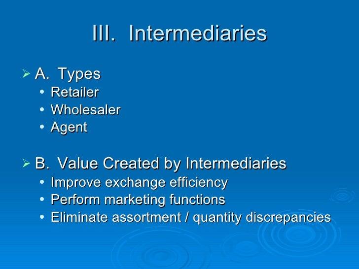 III.  Intermediaries <ul><li>A. Types </li></ul><ul><ul><li>Retailer </li></ul></ul><ul><ul><li>Wholesaler </li></ul></ul>...