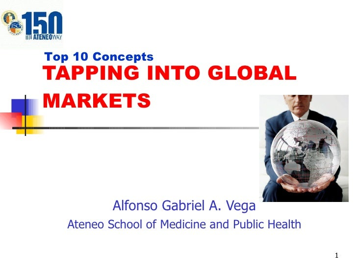 TAPPING INTO GLOBAL MARKETS Alfonso Gabriel A. Vega Ateneo School of Medicine and Public Health Top 10 Concepts