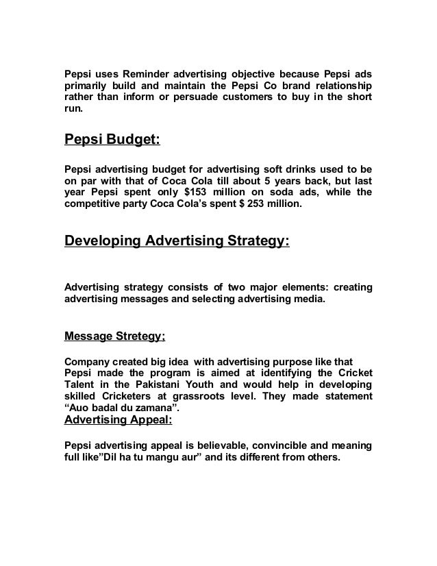 objectives of pepsico Pepsico emphasizes high financial performance as one of the aims included in its vision statement this factor is a basic business expectation.