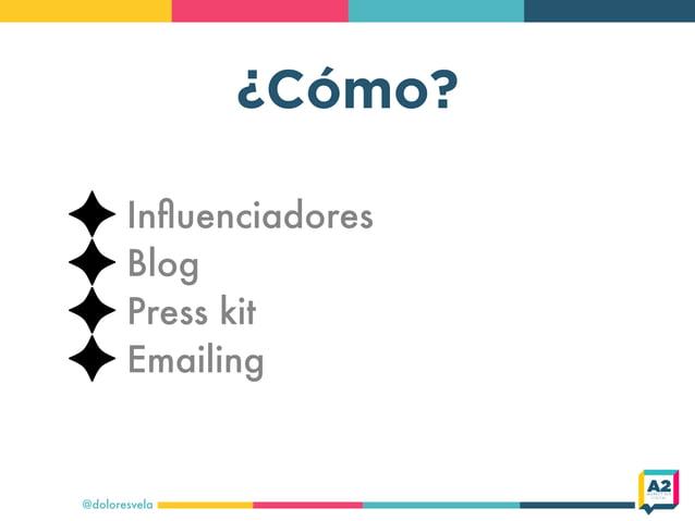 ¿Cómo? @doloresvela Influenciadores Blog Press kit Emailing