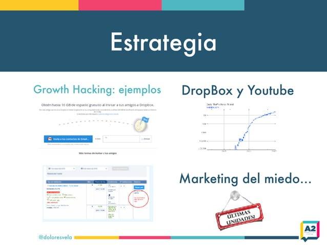 Estrategia @doloresvela Growth Hacking: ejemplos DropBox y Youtube Marketing del miedo…