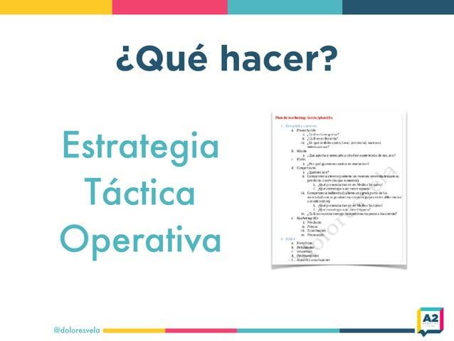 ¿Qué hacer? @doloresvela Estrategia Táctica Operativa