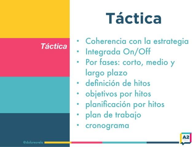 Táctica @doloresvela Táctica • Coherencia con la estrategia • Integrada On/Off • Por fases: corto, medio y largo plazo • d...