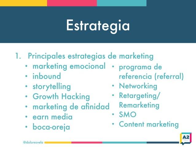 Estrategia @doloresvela 1. Principales estrategias de marketing • marketing emocional • inbound • storytelling • Growth Ha...