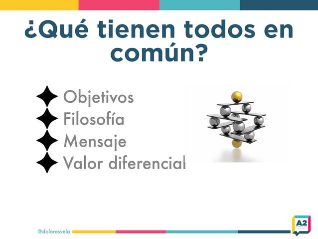 ¿Qué tienen todos en común? Objetivos Filosofía Mensaje Valor diferencial @doloresvela