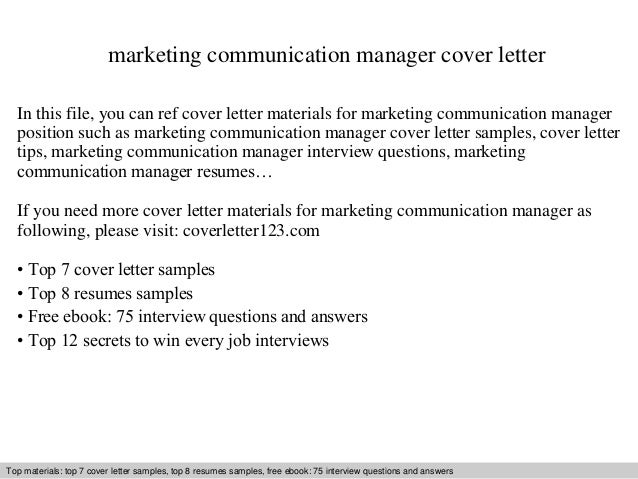 Marketing Communication Manager Cover Letter