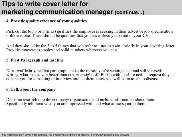 marketing communications cover letter